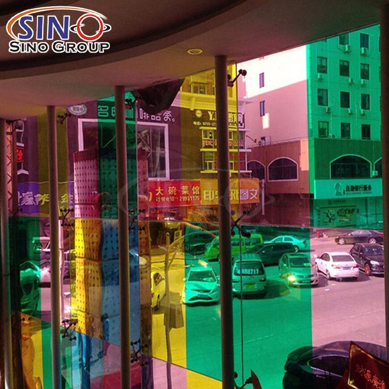 Película de tinte de vidrio de ventana de edificio de color translúcido