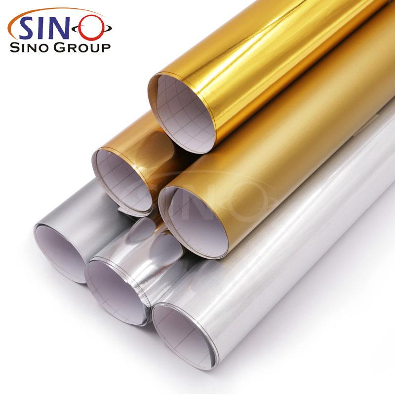 Filme de vinil de corte de cor de prata de ouro de PVC de metal de cromo de metal