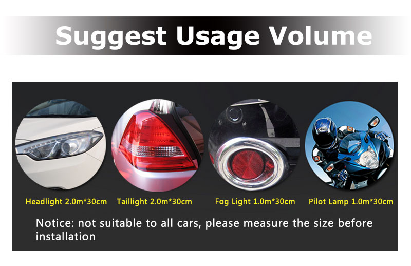 CARLIKE Premium+ Headlight Tint Film Usage Volume