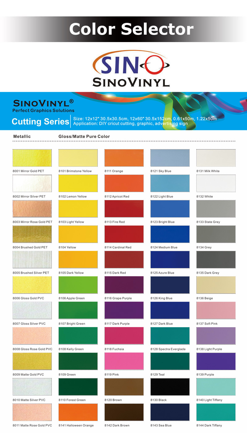 SINO Color PVC  Cutting Vinyl Roll Film