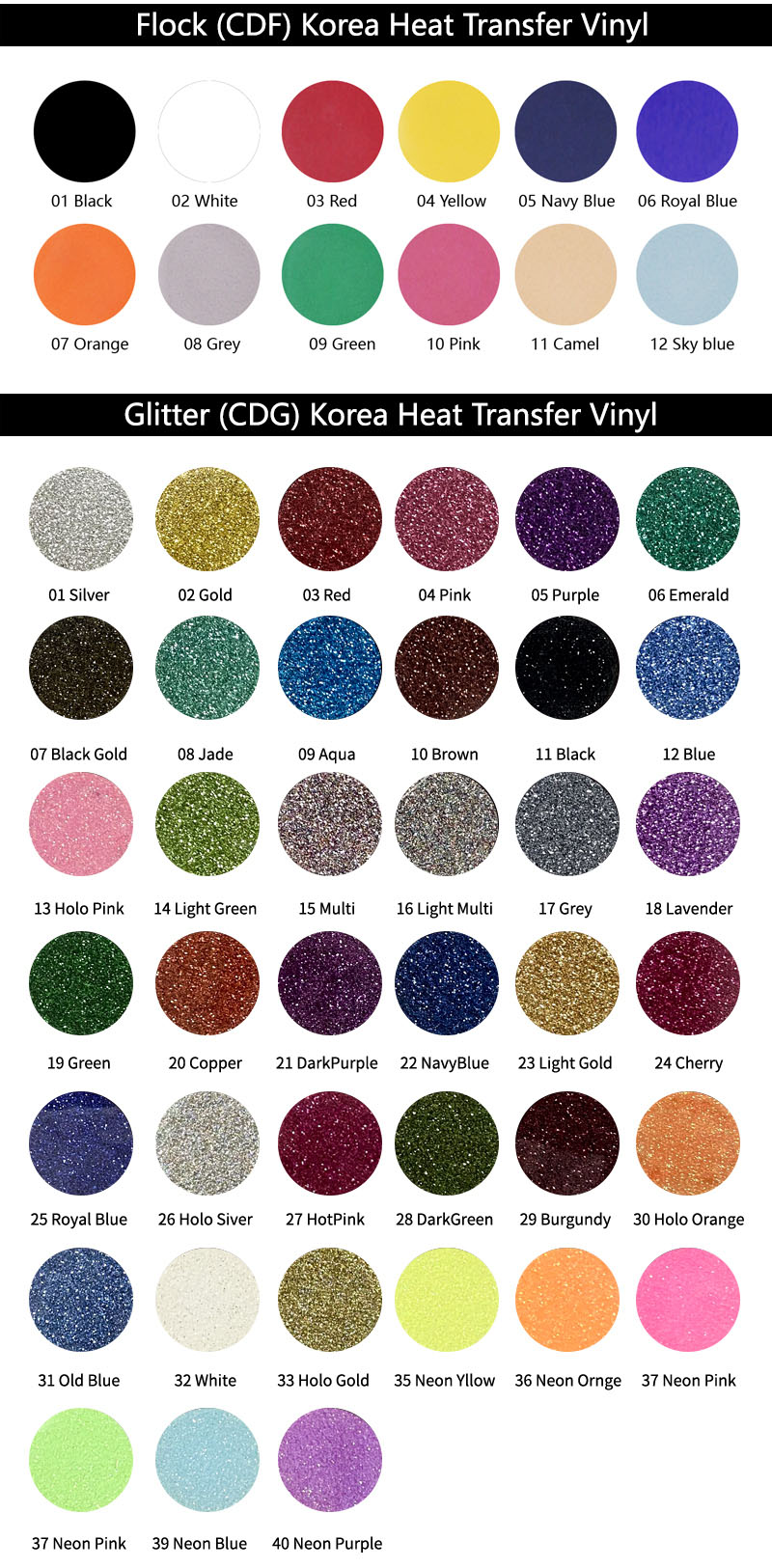 Korea Heat Transfer Vinyl PU PVC Glitter Metallic Flock Hologram HTV For T-shirt