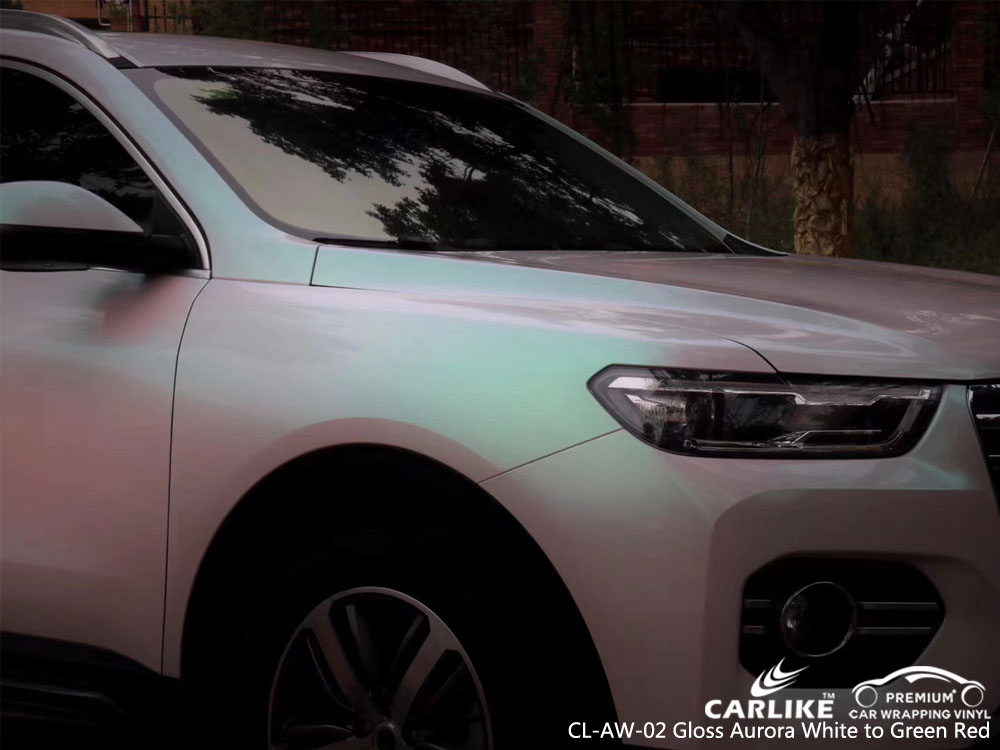 CARLIKE CL-AW-02 GLOSS AURORA WHITE TO GREEN RED CAR WRAP VINYL