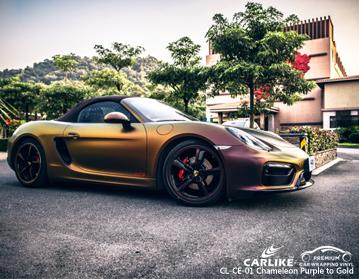 CARLIKE CL-CE-01 camaleão roxo para vinil de ouro para porsche