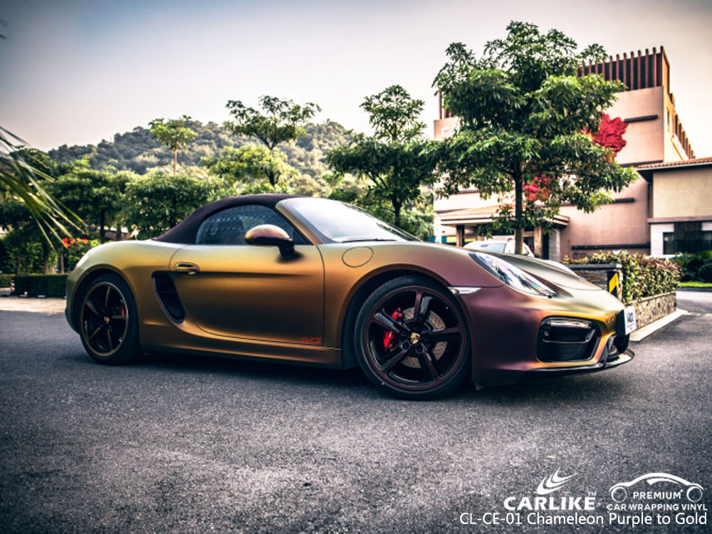 CARLIKE CL-CE-01 CHAMELEON PURPLE TO GOLD VINYL FOR PORSCHE