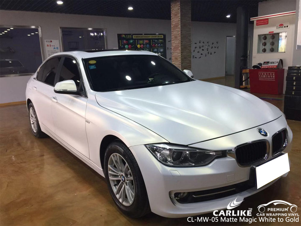 CARLIKE CL-MW-05 MATTE MAGIC WHITE TO GOLD VINYL FOR BMW