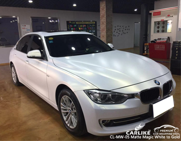 CARLIKE CL-MW-05 Vinilo blanco y dorado mágico mate para BMW