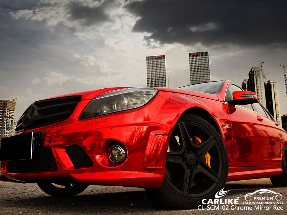 CARLIKE CL-SCM-02 CHROME MIRROR RED CAR WRAP VINYL