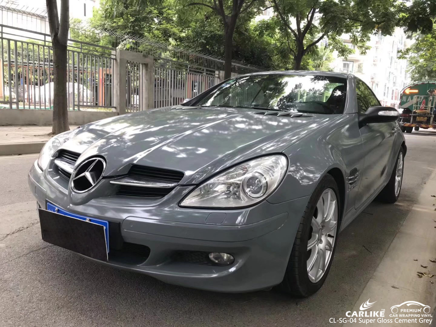 CARLIKE CL-SG-04 SUPER GLOSS CEMENT GREY VINYL WRAP FOR MERCEDES-BENZ