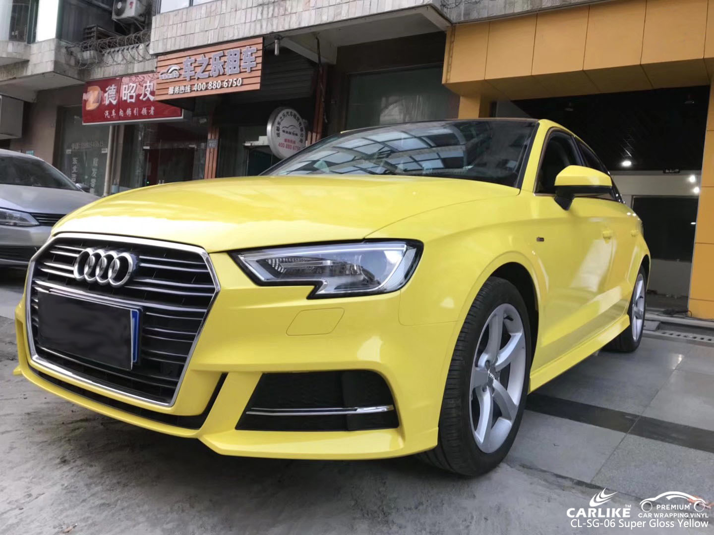 CARLIKE CL-SG-06 SUPER GLOSS YELLOW CAR WRAP FOR AUDI