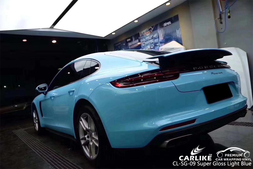 CARLIKE CL-SG-09 SUPER GLOSS LIGHT BLUE CAR WRAP VINYL ON PORSCHE