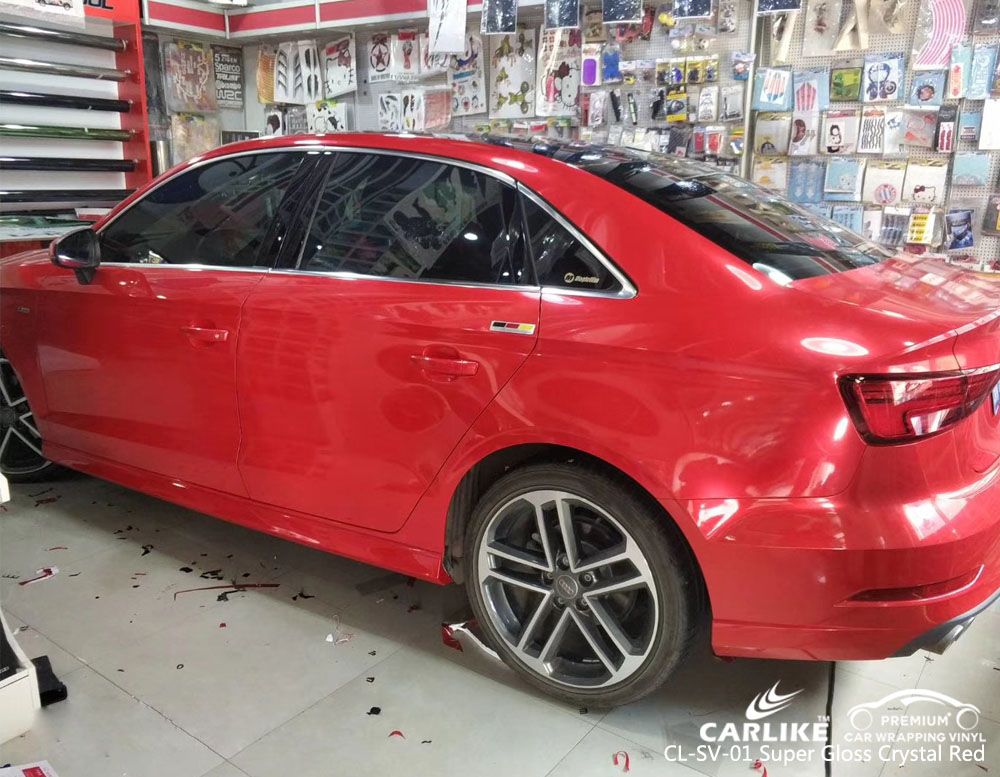 CARLIKE CL-SV-01 SUPER GLOSS CRYSTAL RED CAR WRAP VINYL FOR AUDI