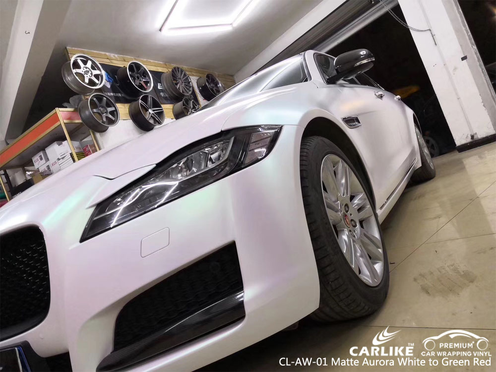 CARLIKE CL-AW-01 MATTE AURORA WHITE TO GREEN RED CAR WRAP VINYL