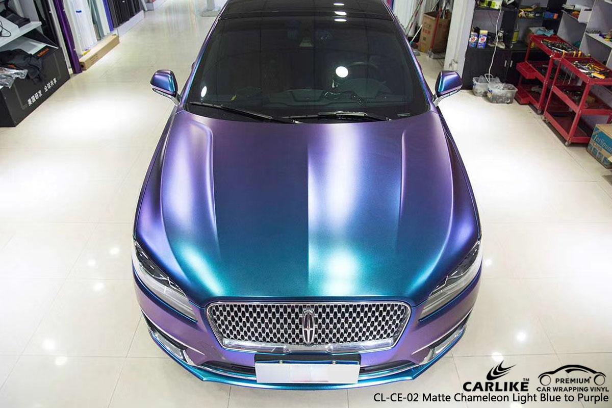 CARLIKE CL-CE-02 MATTE CHEMELEON LIGHT BLUE TO PURPLE VINYL FOR LINCOLN