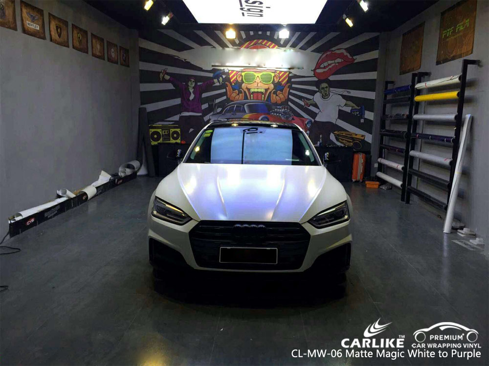 CARLIKE CL-MW-06 MATTE MAGIC WHITE TO PURPLE VINYL FOR AUDI
