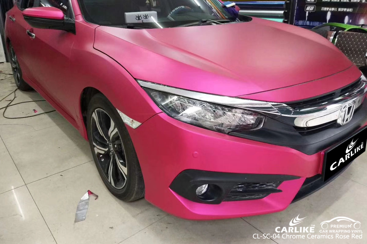 CARLIKE CL-SC-04 CHROME CERAMIC ROSE RED VINYL FOR HONDA