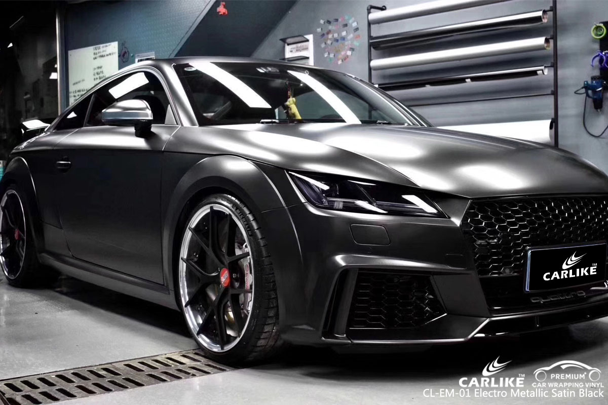 CARLIKE CL-EM-01 electro metallic satin black vinyl for audi