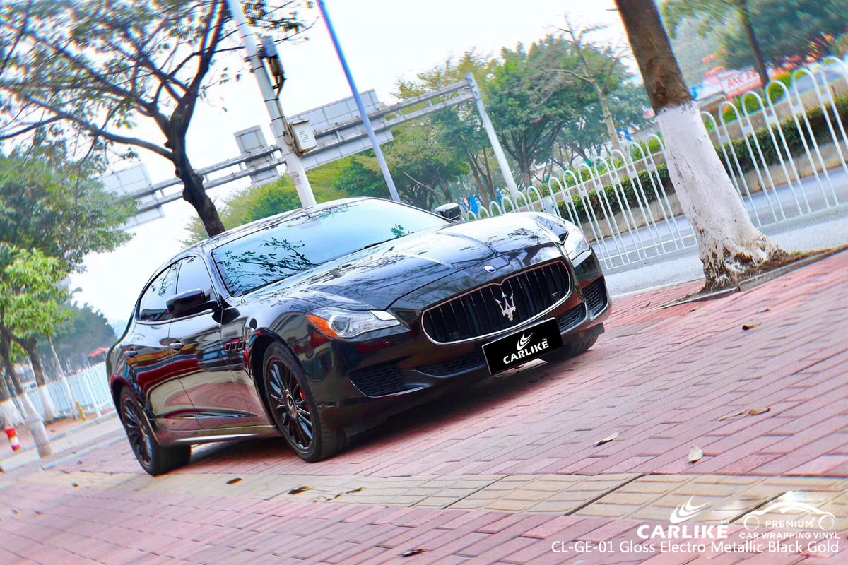 CARLIKE CL-GE-01 gloss electro metallic black gold vinyl for MASERATI