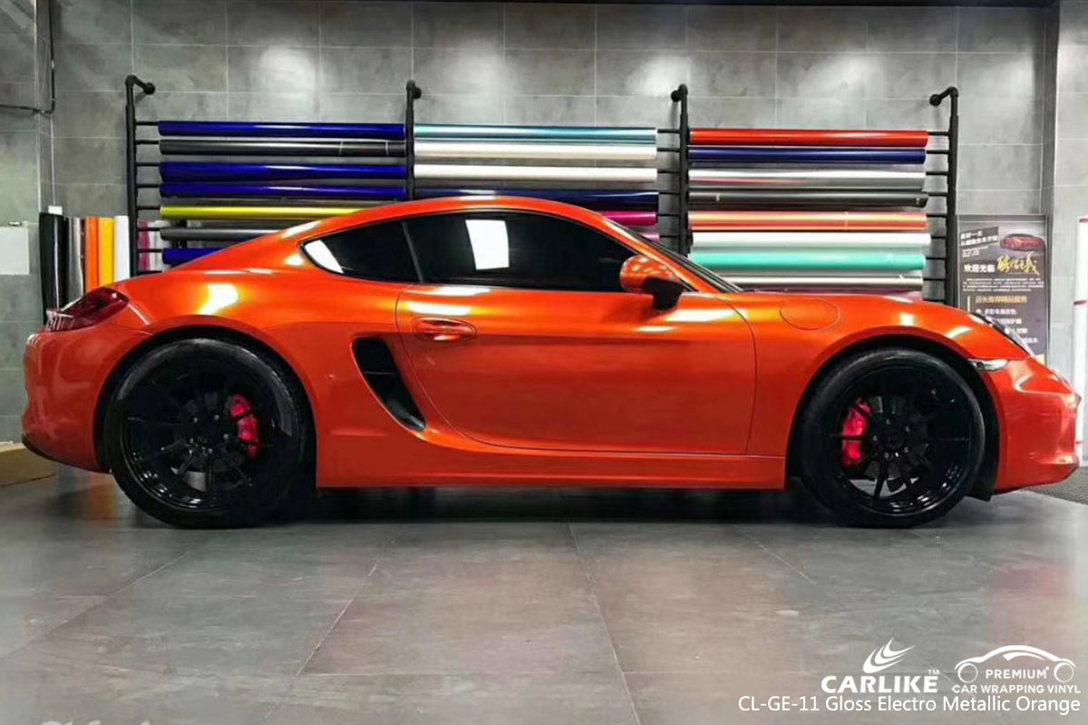 CARLIKE CL-GE-11 gloss electro metallic orange vinyl for PORSCHE