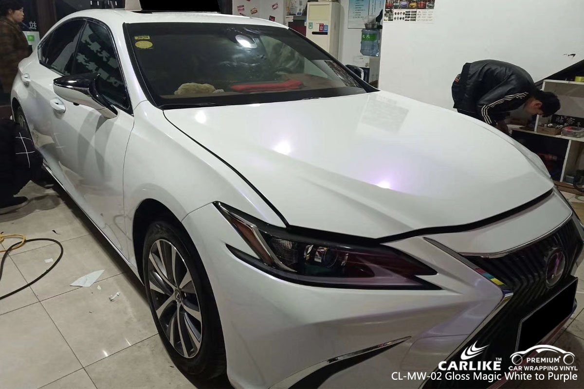CARLIKE CL-MW-02 gloss magic white to purple vinyl for LEXUS