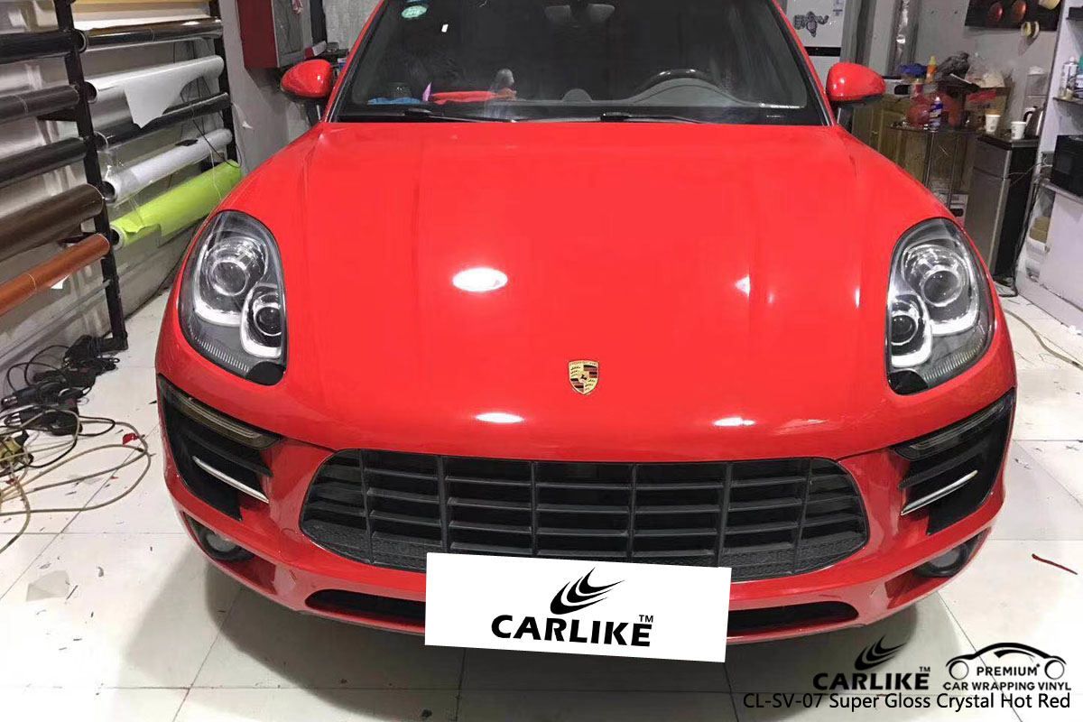 CARLIKE CL-SV-07 super gloss crystal hot red vinyl for PORSCHE