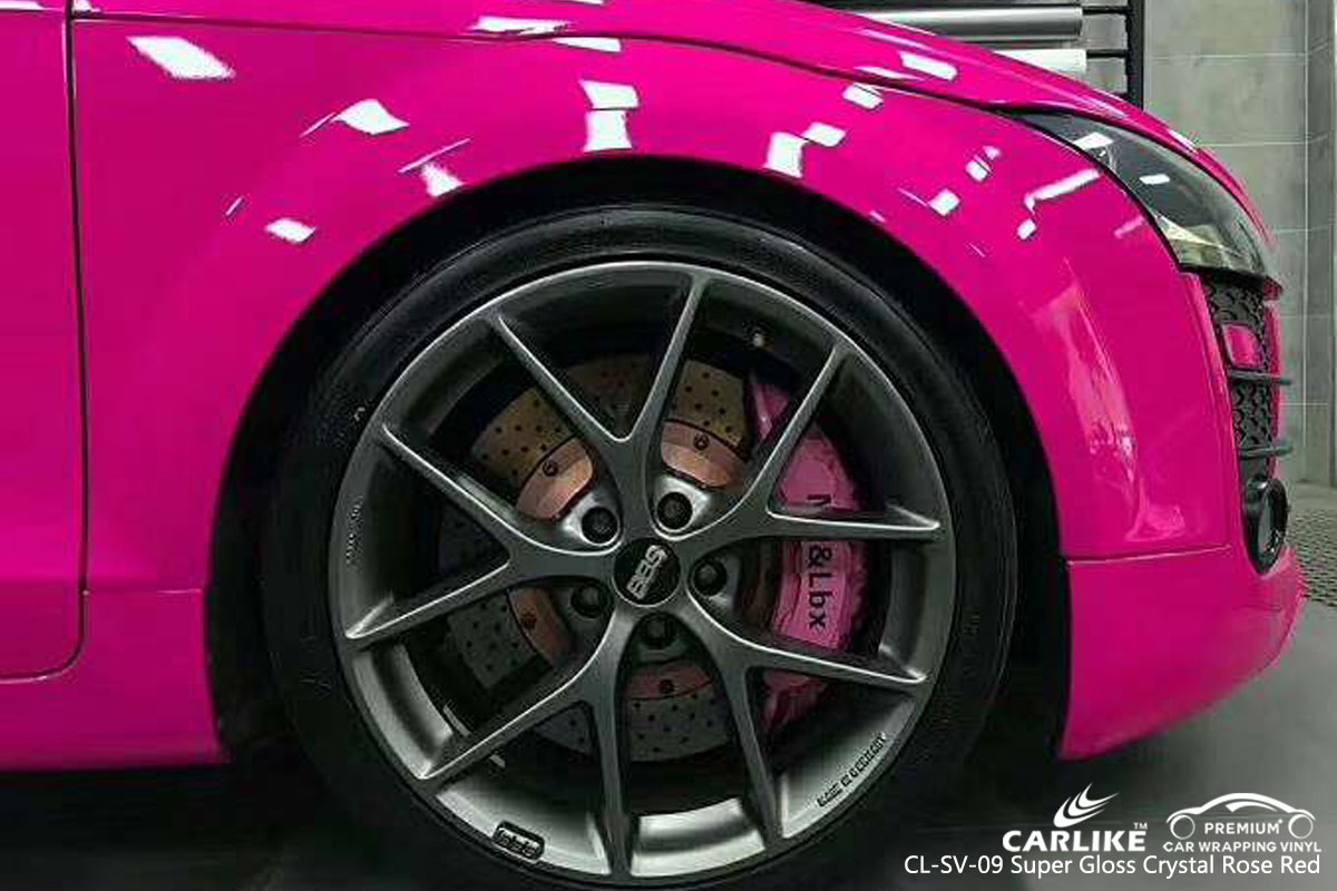 CARLIKE CL-SV-09 super gloss crystal rose red car wrapping vinyl