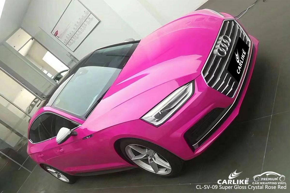 CARLIKE CL-SV-09 super gloss crystal rose red vinyl for audi