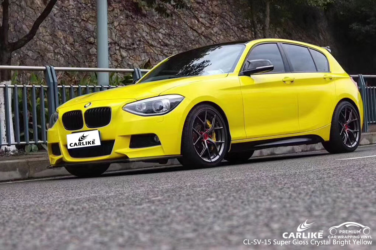 CARLIKE CL-SV-15 super gloss crystal bright yellow vinyl for BMW