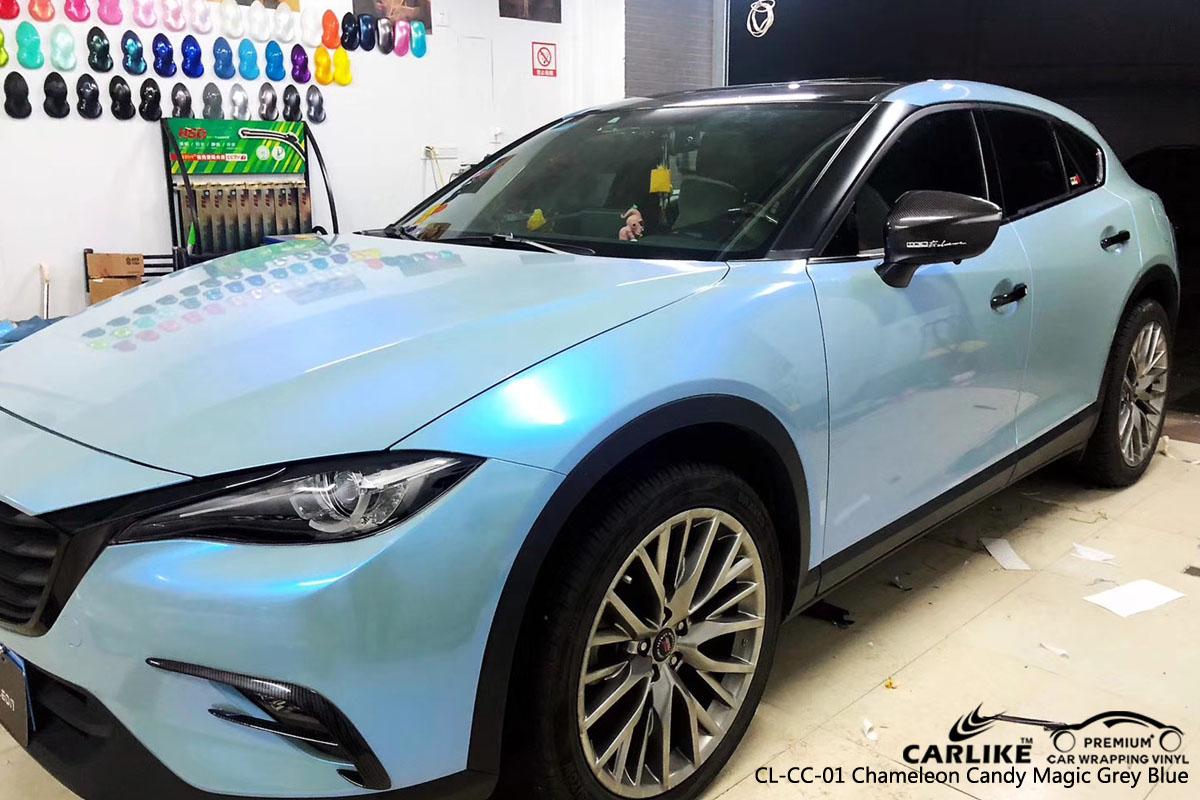 CARLIKE CL-CC-01 chameleon candy magic grey blue vinyl for Mazda