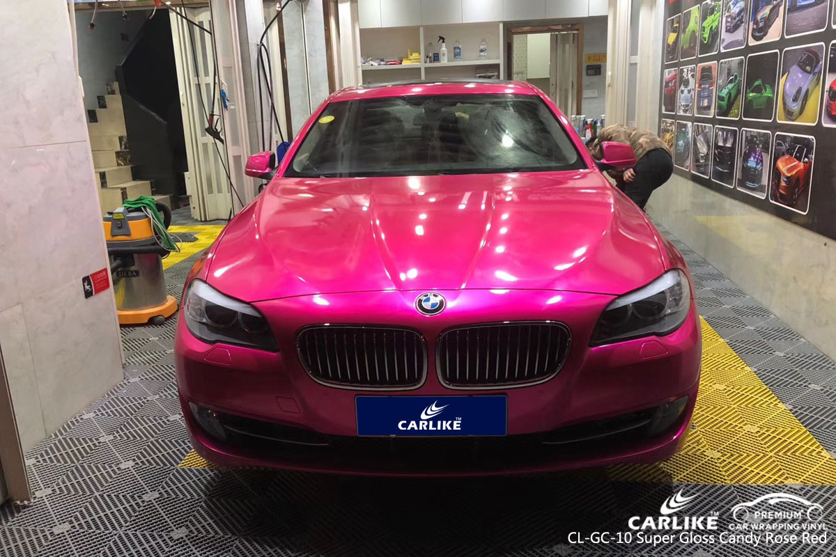 CARLIKE CL-GC-10 super gloss candy rose red vinyl for BMW