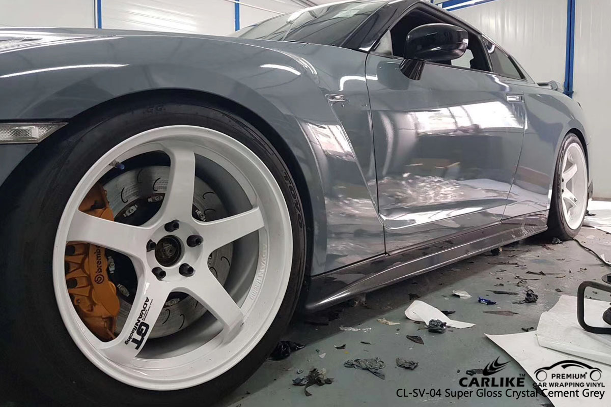 CARLIKE CL-SV-04 super gloss crystal cement grey vinyl for GT-R