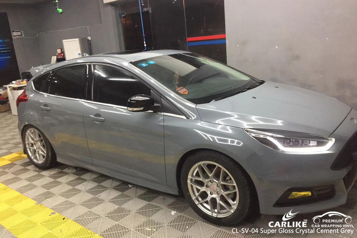 CARLIKE CL-SV-04 super gloss crystal cement grey car wrap vinyl