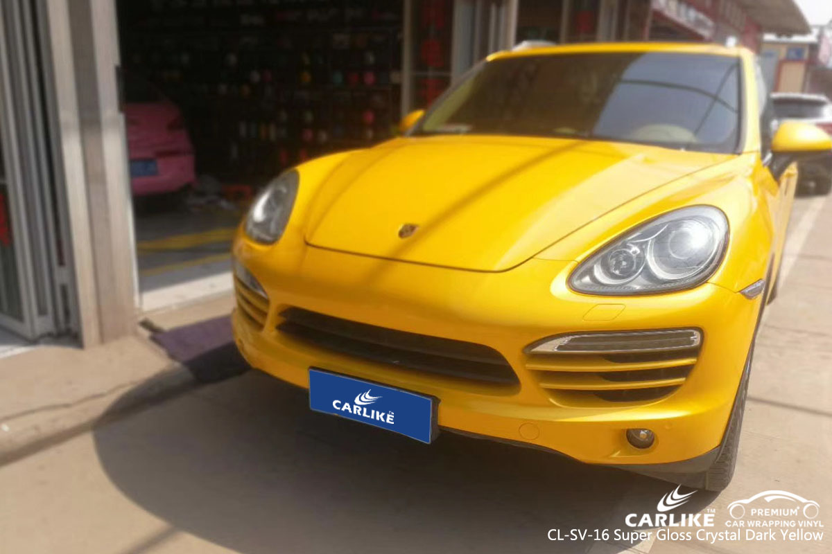 CARLIKE CL-SV-16 super gloss crystal dark yellow vinyl for PORSCHE