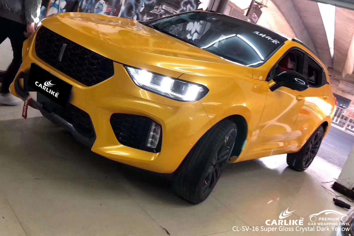 CARLIKE CL-SV-16 super gloss crystal dark yellow vinyl for Wey