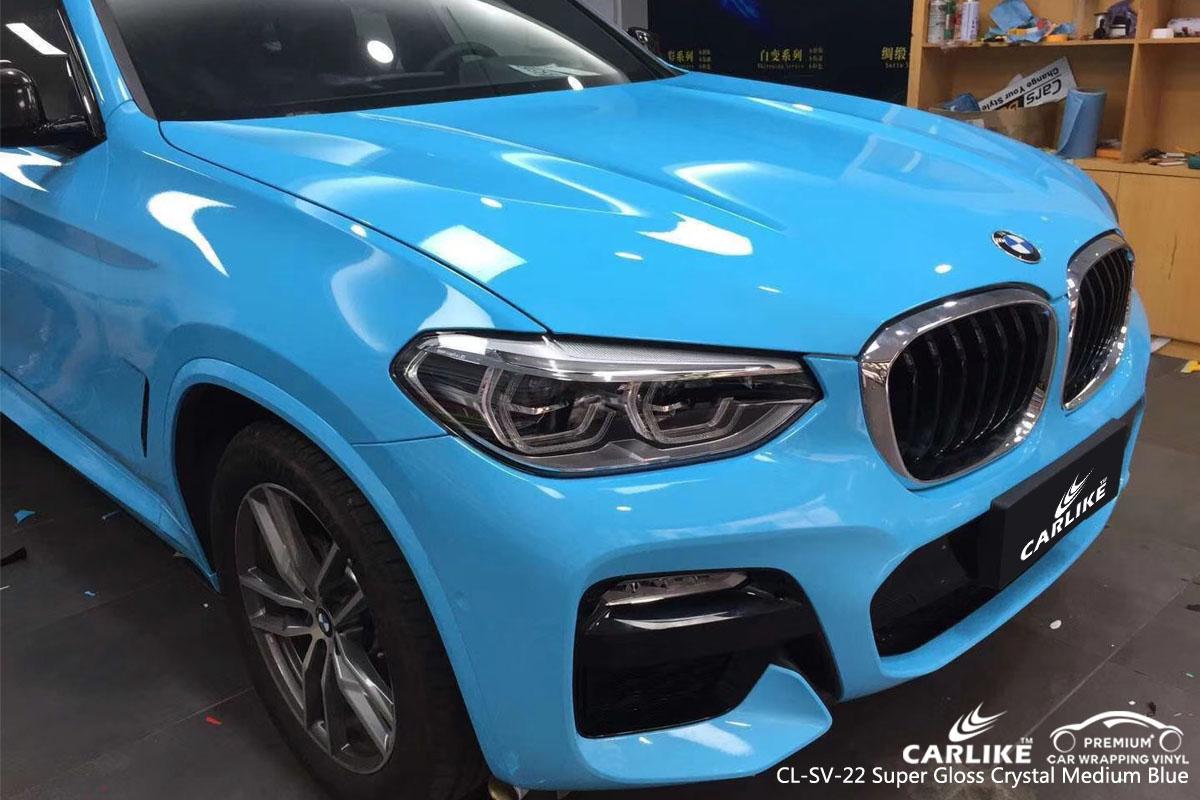 CARLIKE CL-SV-22 super gloss crystal medium blue vinyl for BMW
