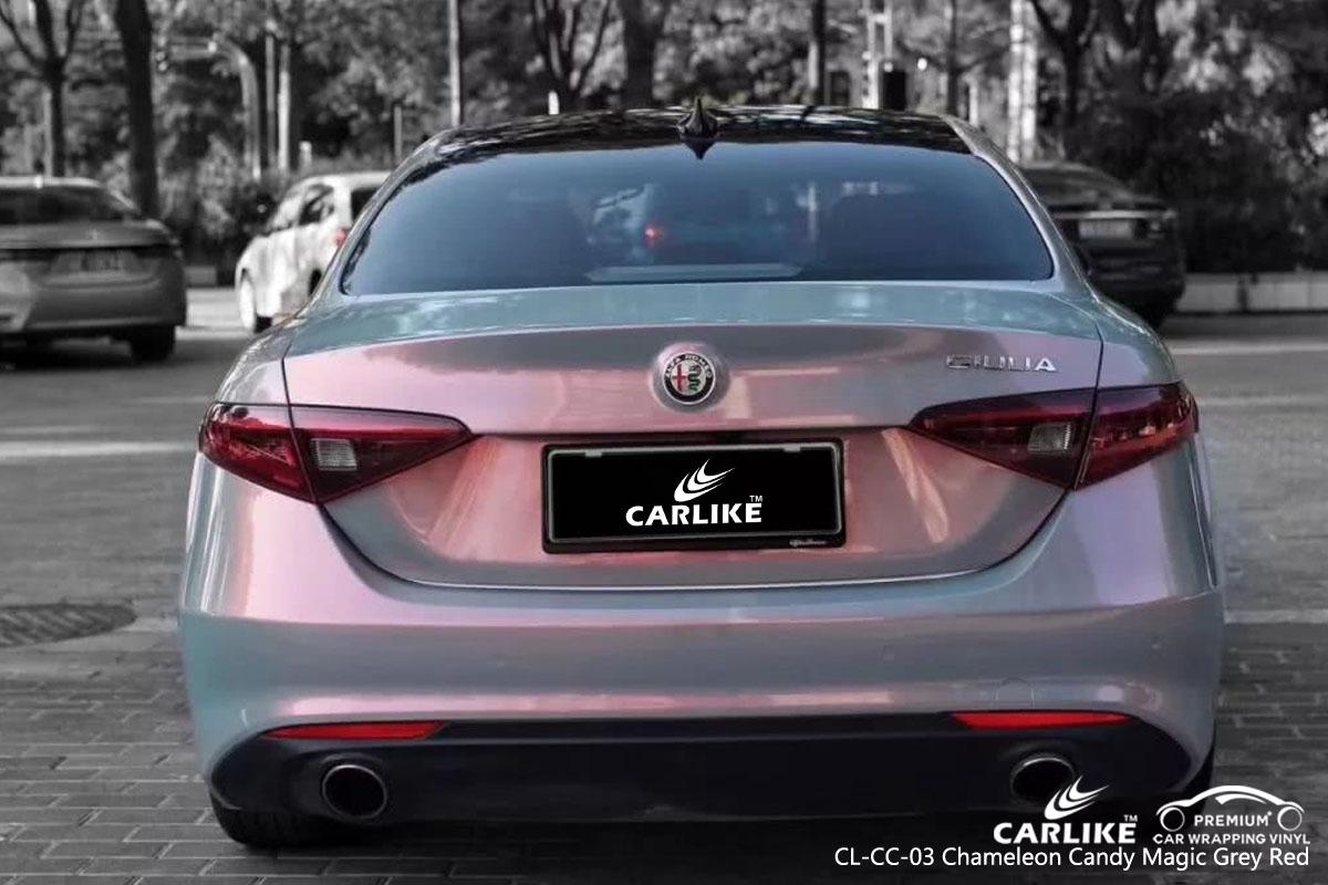 CARLIKE chameleon candy magic grey red car wrap vinyl on Alfa Romeo, car wrap Canada