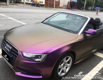 Camaleón electro metálico púrpura a dorado envolviendo vinilo en Audi, envoltura de automóvil Bolivia