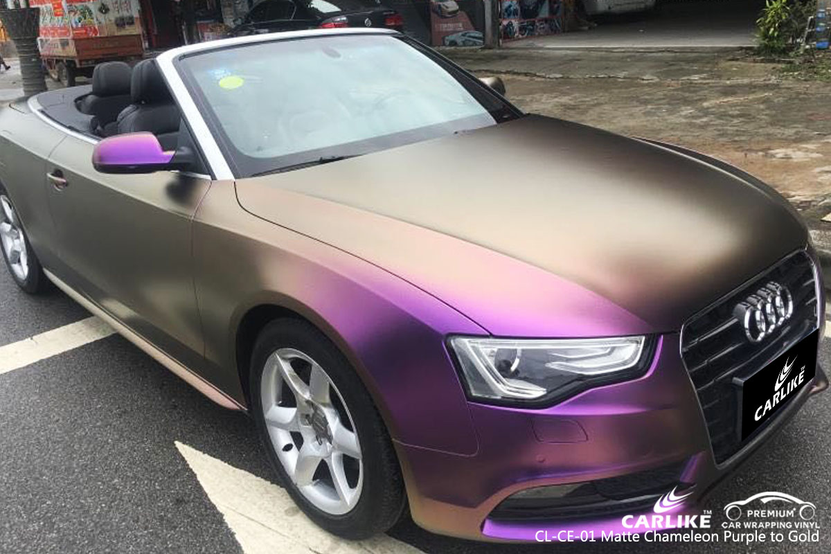 CARLIKE chameleon electro metallic purple to gold car wrapping vinyl on Audi, car wrap Australia