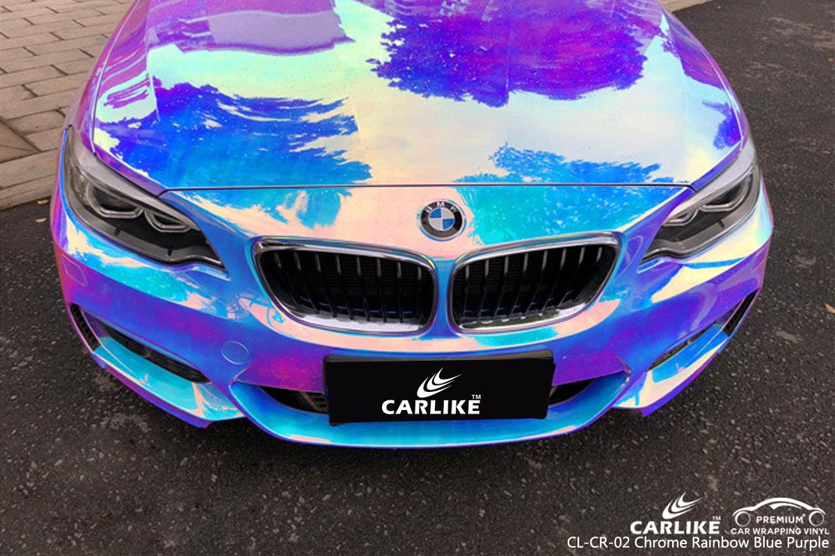 CARLIKE chrome rainbow blue purple car wrap vinyl on BMW, car wrap America