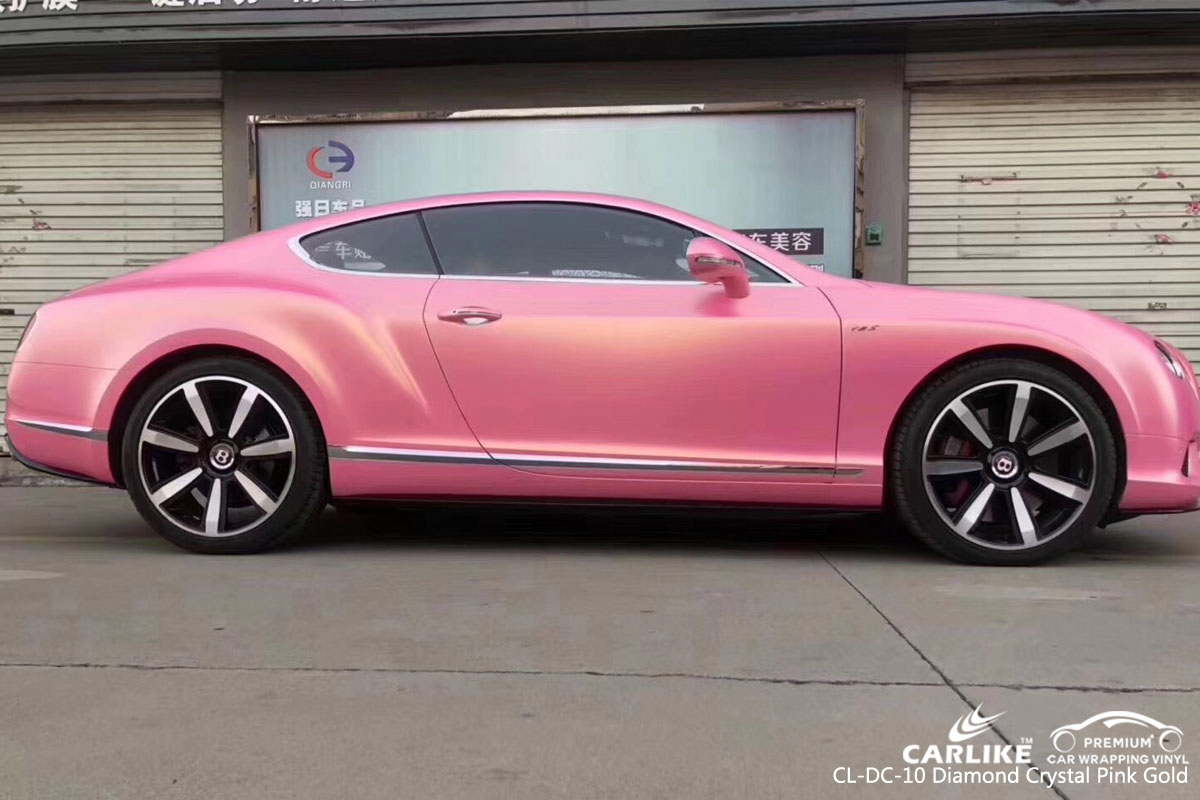 CARLIKE diamond crystal pink gold car wrap vinyl on Bentley, car wrap Australia, vehicle wrap