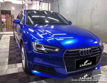 Super brillante caramelo rey azul coche envolviendo vinilo en Audi, envoltura de vehículo