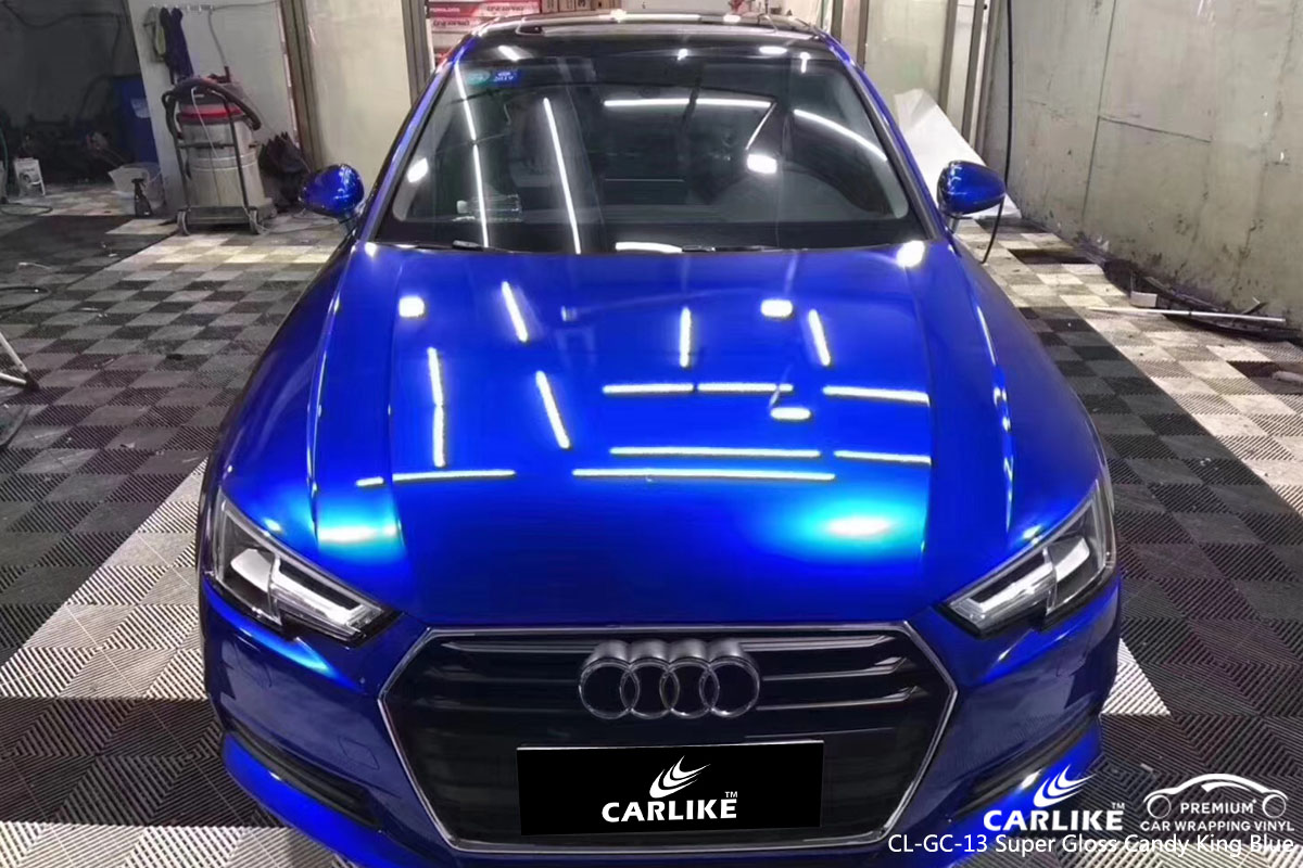 CARLIKE super gloss candy king blue car wrapping vinyl, vehicle wrap