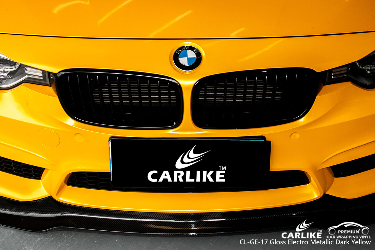 CARLIKE super gloss electro metallic dark yellow car wrap vinyl on BMW, car wrap Canada