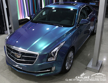 CARLIKE gloss magic coral malachite blu car wrapping vinile su Cadillac, car wrap italia