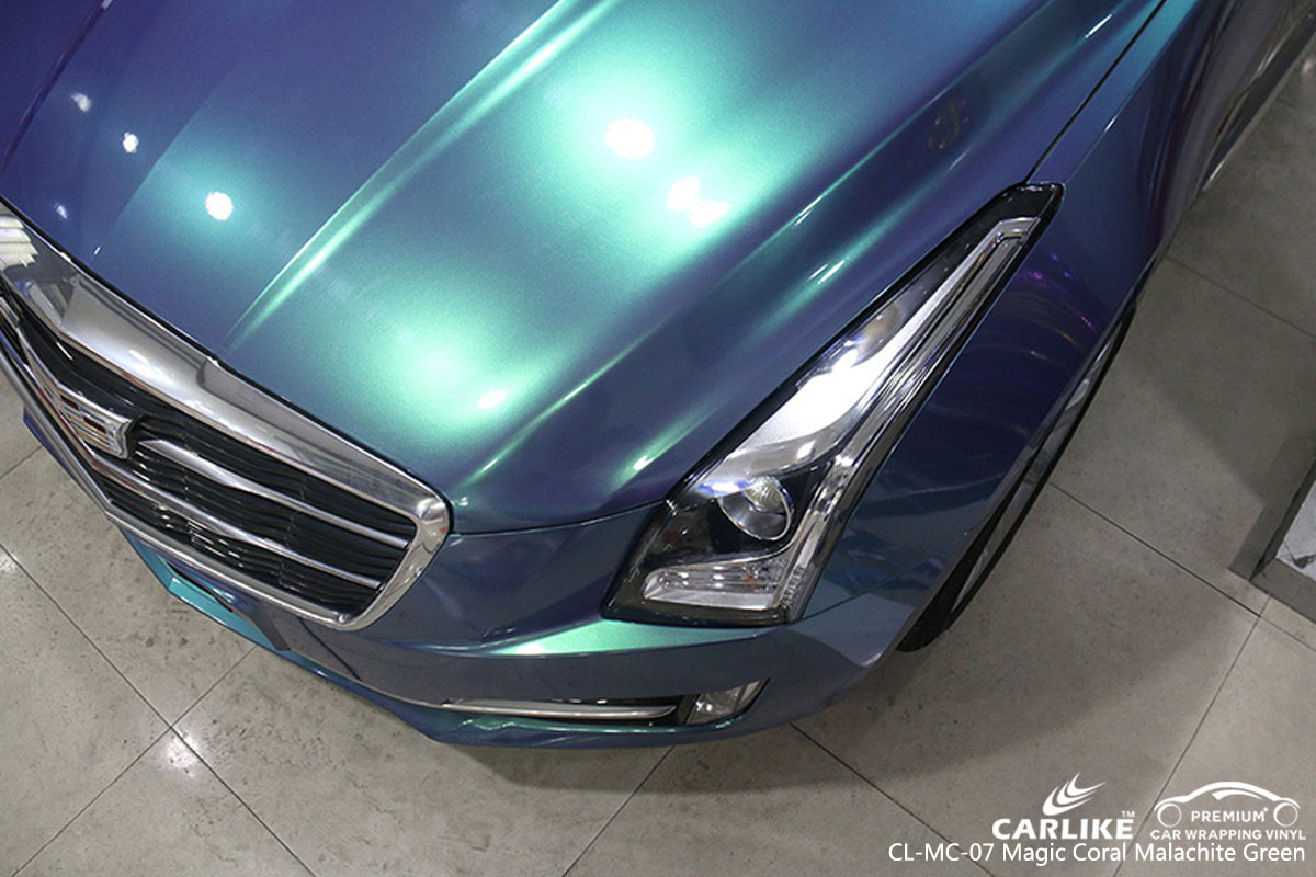 CARLIKE gloss magic coral malachite blue car wrapping vinyl on Cadillac, vehicle wrap