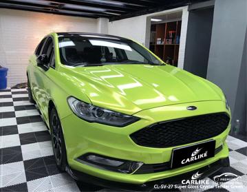 CARLIKE Vinilo envolvente de autos verde brillante de cristal súper brillante, vinilo del vehículo