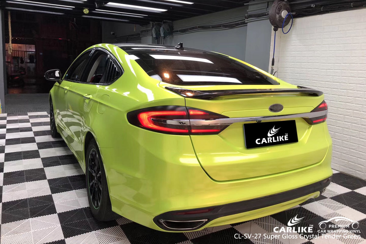 CARLIKE super gloss crystal tender green car wrapping vinyl, vehicle wrap