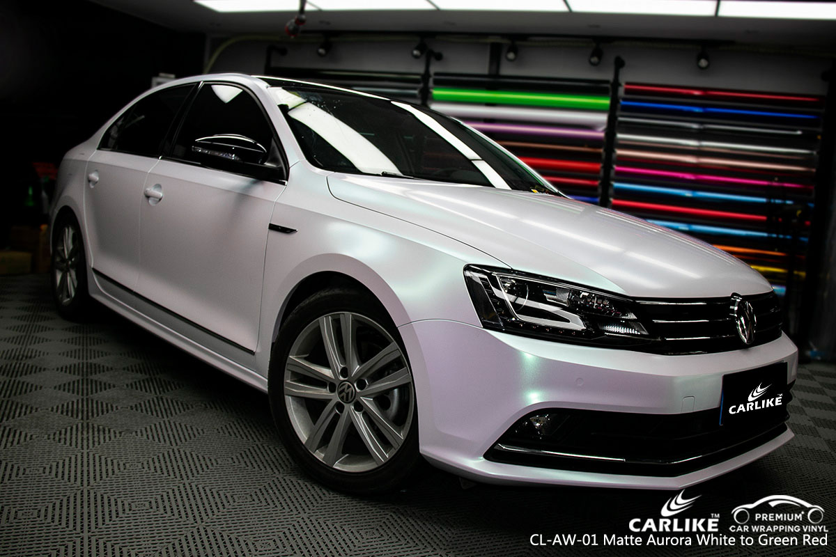 CARLIKE CL-AW-01 aurora white to green red car wrap vinyl for Volkswagen