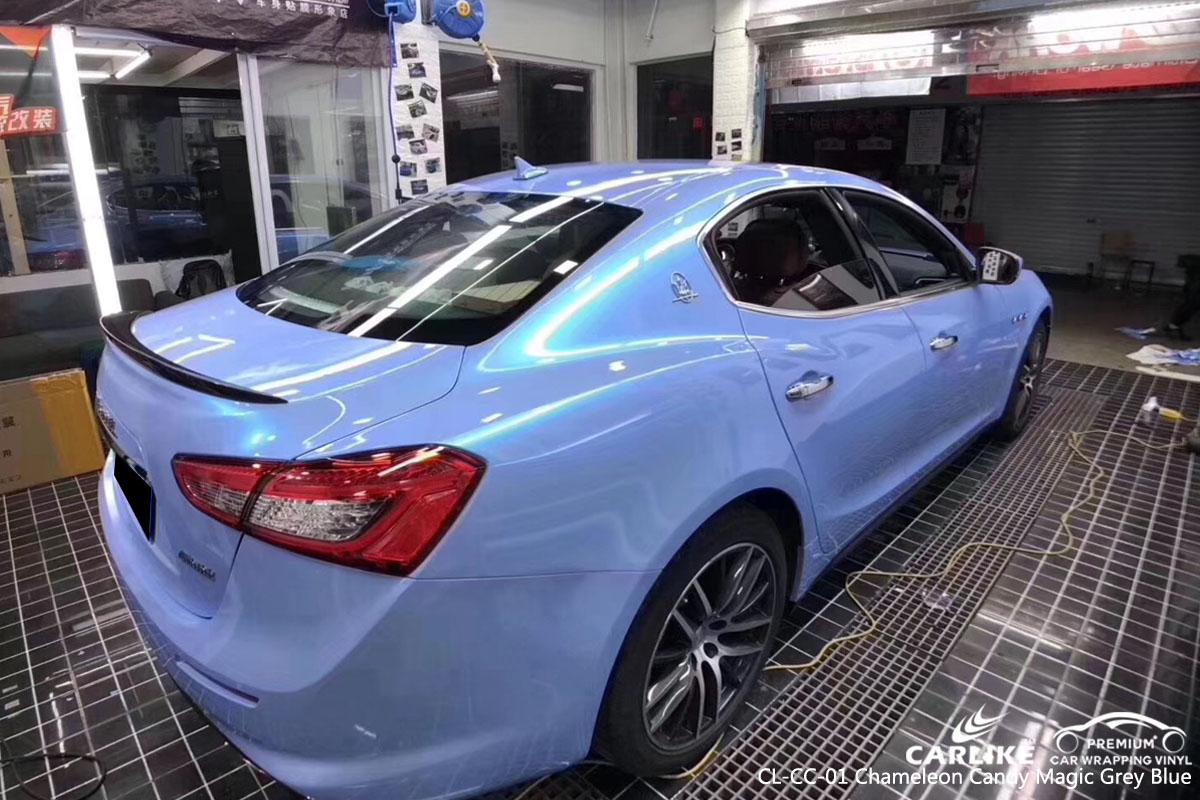 CARLIKE CL-CC-01 chameleon candy magic grey blue car wrap vinyl for Maserati