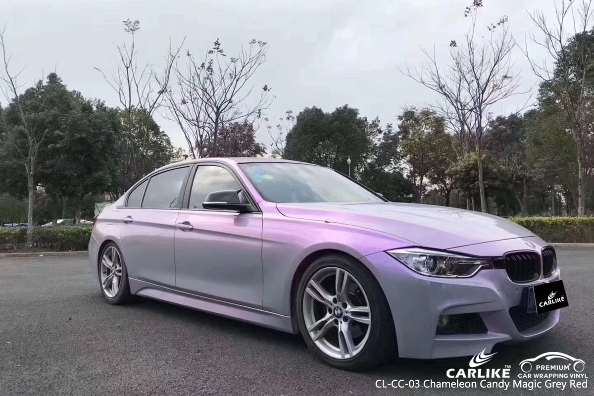 CARLIKE CL-CC-03 chameleon candy magic grey red car wrap vinyl for BMW
