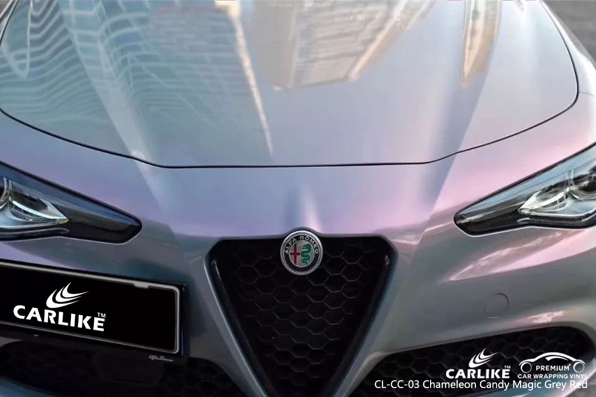 CARLIKE CL-CC-03 chameleon candy magic grey red car wrap vinyl for Alfa Romeo